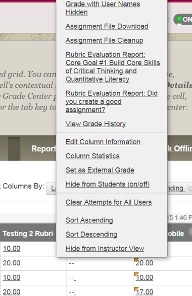Screenshot of how to select the rubric desired for rubric report when a grade item has multiple rubrics associated with it