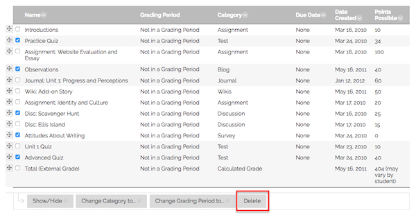"Screenshot of Column Organization in the Grade Center, where instructors can select columns and choose the ""Delete"" button to delete multiple columns at once."