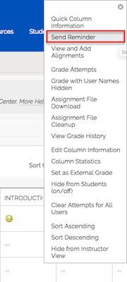 Screenshot of grade column menu where an instructor can choose to send a reminder to all students who do not have a grade or submission for a selected grade column