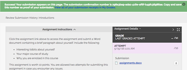 Screenshot that shows an example submission receipt for a student assignment submission in Blackboard.