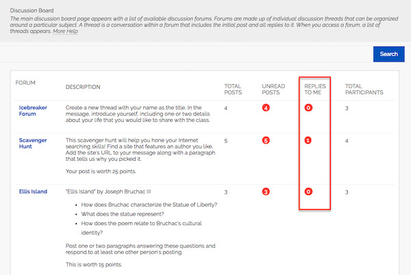 "Screenshot of Discussion Board in Blackboard showing the new ""Replies to Me"" column"